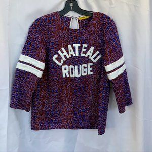 Maison Chateau Rouge Blue / Red Animal Print Wax L
